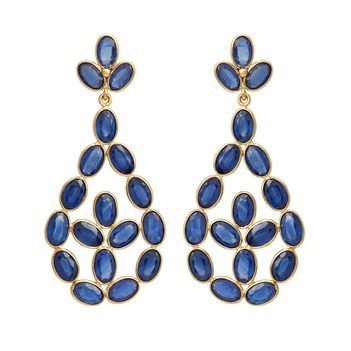 Sapphire and 18K Gold Feather Light Chandelier Earrings