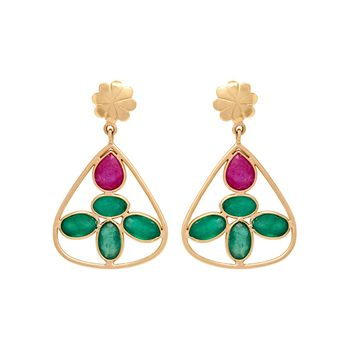 Emerald and Ruby Dainty 18K Gold Drop Earrings