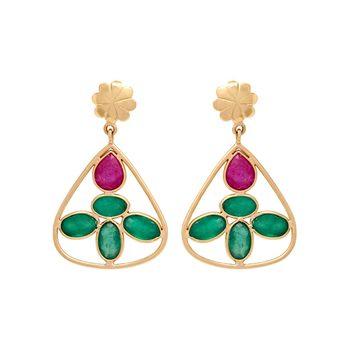 Emerald and Ruby Dainty 18K Gold Drop Earrings