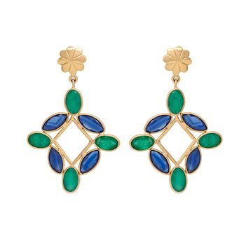 Vivid Sapphire and Emerald 18K Gold Drop Earrings