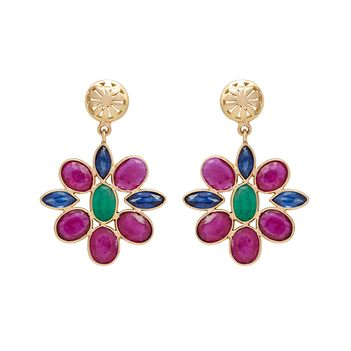 Unusual Ruby, Sapphire and Emerald 18K Gold Drop Earrings