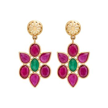 Blithe Ruby and Emerald 18K Gold Drop Earrings