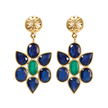 Quaint Emerald and Sapphire Drop 18K Gold Earrings