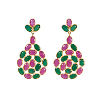 Ruby and Emerald Stylish 18K Gold Drop Earrings