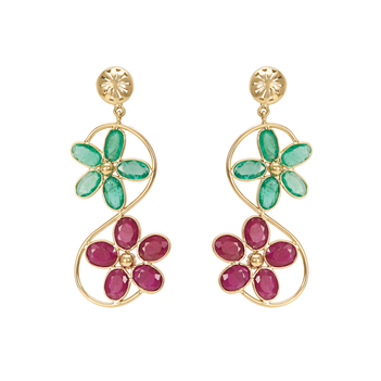 Bewitching Emerald and Ruby Floral 18K Gold Dangler Earrings