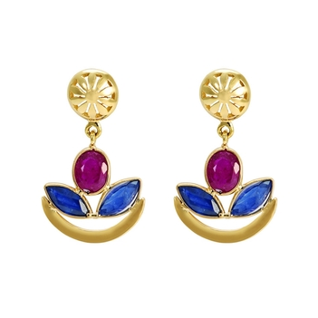 Enthralling Ruby and Sapphire 18K Gold  Drop Earrings