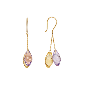 Amethyst and Golden Topaz Beaded Danglers