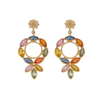 Iridescent Multihued 18K Gold Dangler Earrings