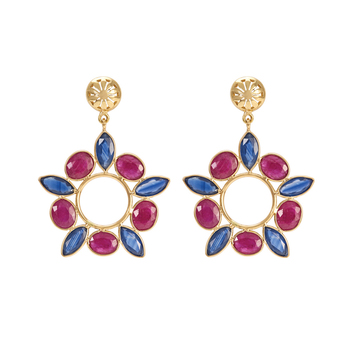Ruby Sapphire Wonder 18K Gold Earrings