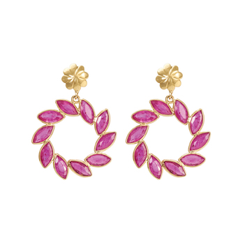Gorgeous Ruby Dangler 18K Gold Earrings