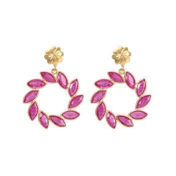 Gorgeous Ruby Dangler 18K Gold Earrings
