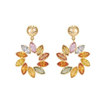 Whirls of Colour 18K Gold Dangler Earrings
