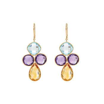 Whimsical Multihued 18K Gold Dangler Earrings