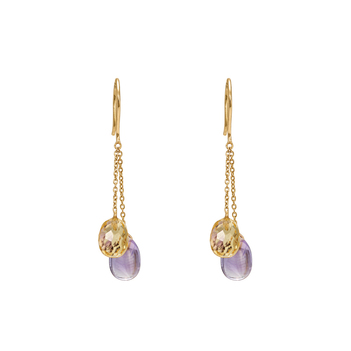 Flirty Golden Topaz and Amethyst Danglers