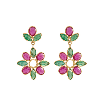 Sublime Ruby Emerald Floral 18K Gold Drop Earrings