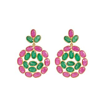 Delightful Ruby and Emerald 18K Gold Dangler Earrings