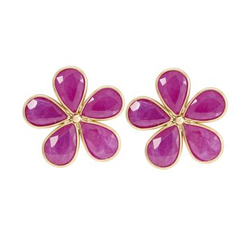 Elegant Ruby Stud 18K Gold Earrings