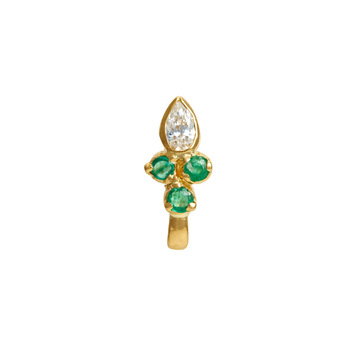 Delightful Diamond & Emerald Gold Nose Pin