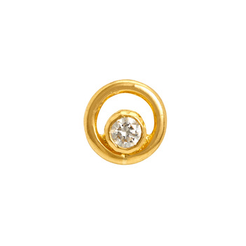 Alluring Single Diamond Nose Pin in 22K Yellow Gold