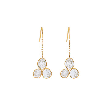 Gossamer Sliced Diamonds Gold Danglers