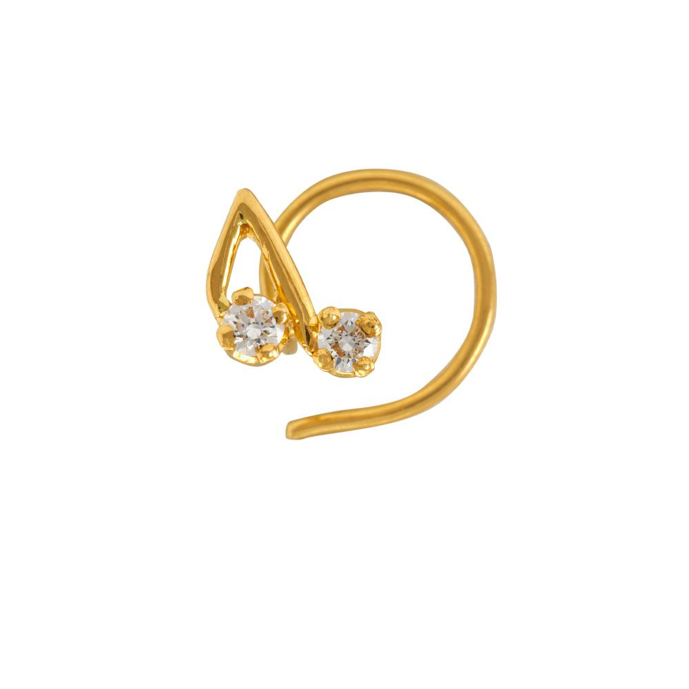 Diamond Nosepin For Round Face In 22k Yellow Gold