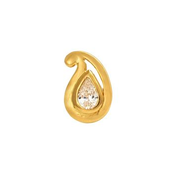 Stylish Pear Shaped Diamond Nosepin in 22K Yellow Gold