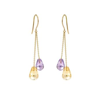 Sprightly Golden Topaz & Amethyst 18K Gold Earrings