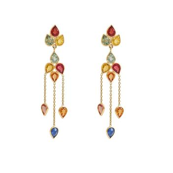 Coquettish Multi-Sapphires 18K Gold Danglers