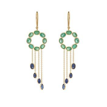 Tranquil Emeralds & Blue Sapphires 18K Gold Earrings