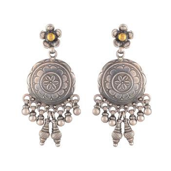 Regal Oxidised Silver Stud Earrings