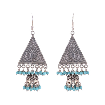 Endearing Silver and Turquoise Hook Oxidised Earrings