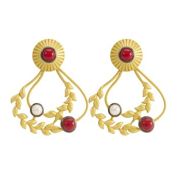 Coral, Pearl and 925 Sterling Silver Vined Dangler Earrings