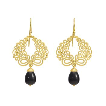 Artistic 925 Sterling Silver and Black Onyx Dangler Earrings