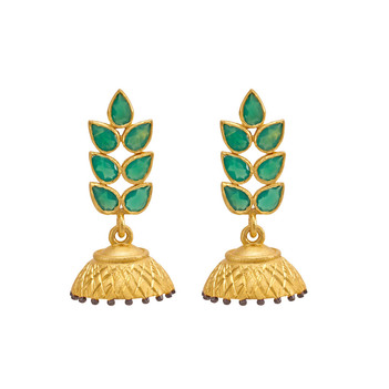 Resplendent Green Onyx 925 Sterling Silver Jhumka Earrings