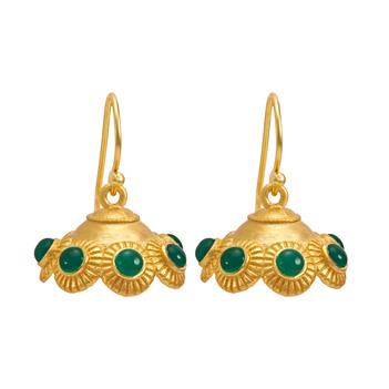Winsome Green Onyx 925 Sterling Silver Jhumka Earrings