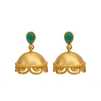 Charming Onyx 925 Sterling Silver Jhumka Earrings