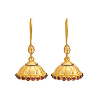 Enticing Garnet and Citrine Silver Jhumki