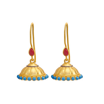 Ravishing Turquoise and Coral 925 Sterling Silver Jhumka Earrings