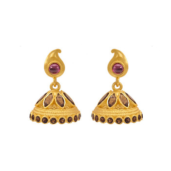 Charismatic Garnet, Smoky Topaz 925 Sterling Silver Jhumka Earrings