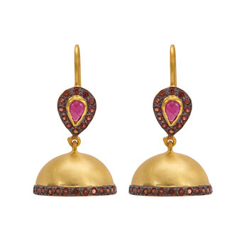 Striking Ruby and Garnet Jhumkis