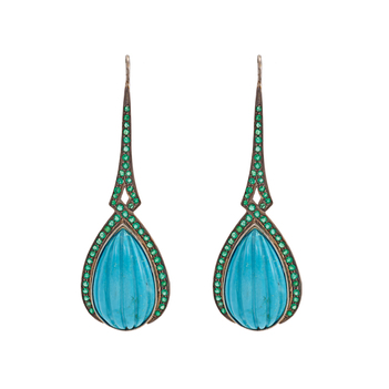 Breathtaking Emerald and Turquoise 925 Sterling Silver Dangler Earrings