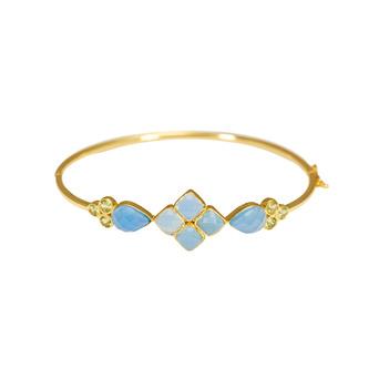 Blue Chalcedony & Peridot 925 Sterling Silver Bracelet