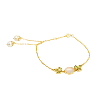 Pearl, Peridot & Rose Quartz 925 Sterling Silver Bracelet