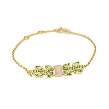 Peridot, Rose Quartz & Green Tourmaline 925 Sterling Silver Bracelet