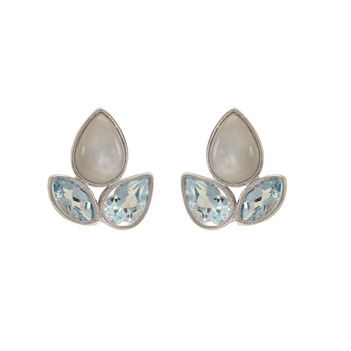 Blue Topaz & Grey Moonstone 925 Sterling Silver Stud Earrings