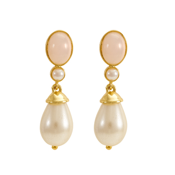 Pink Opal & Pearl 925 Sterling Silver Drop Earrings