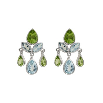Blue Topaz & Peridot 925 Sterling Silver Drop Earrings