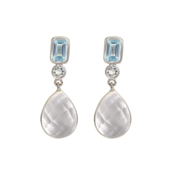 Aquamarine, Blue Topaz & Crystal Quartz 925 Sterling Silver Drop Earrings