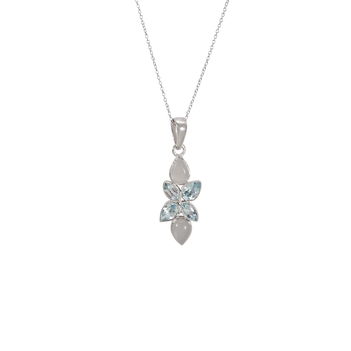 Blue Topaz & Grey Moonstone 925 Sterling Silver Pendant