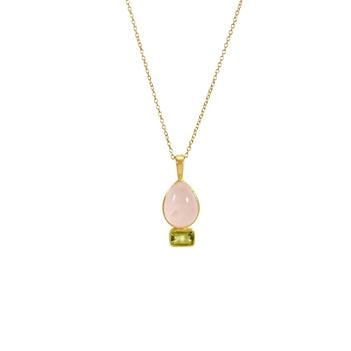 Peridot & Rose Quartz 925 Sterling Silver Pendant